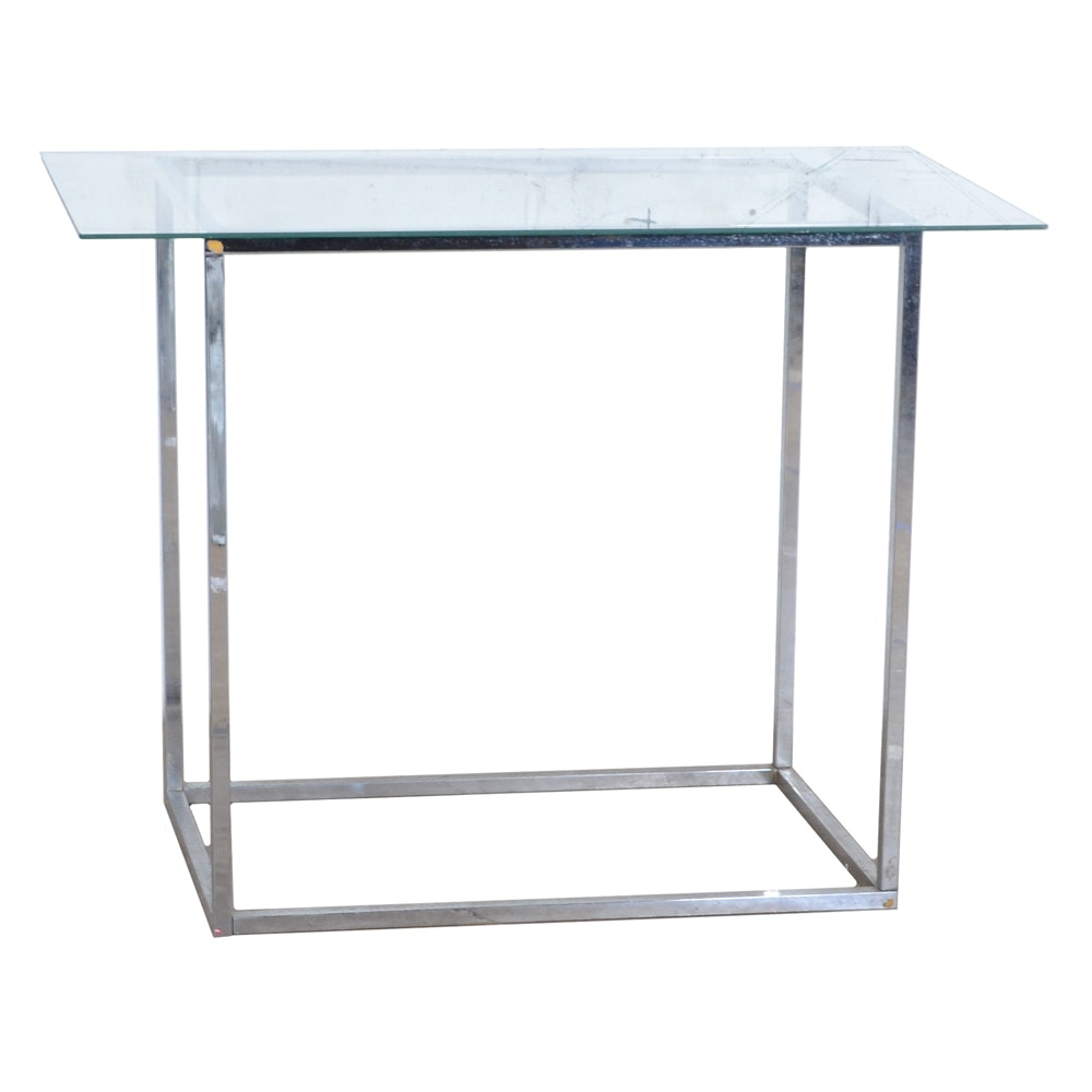 Modernist Glass Top Console Table