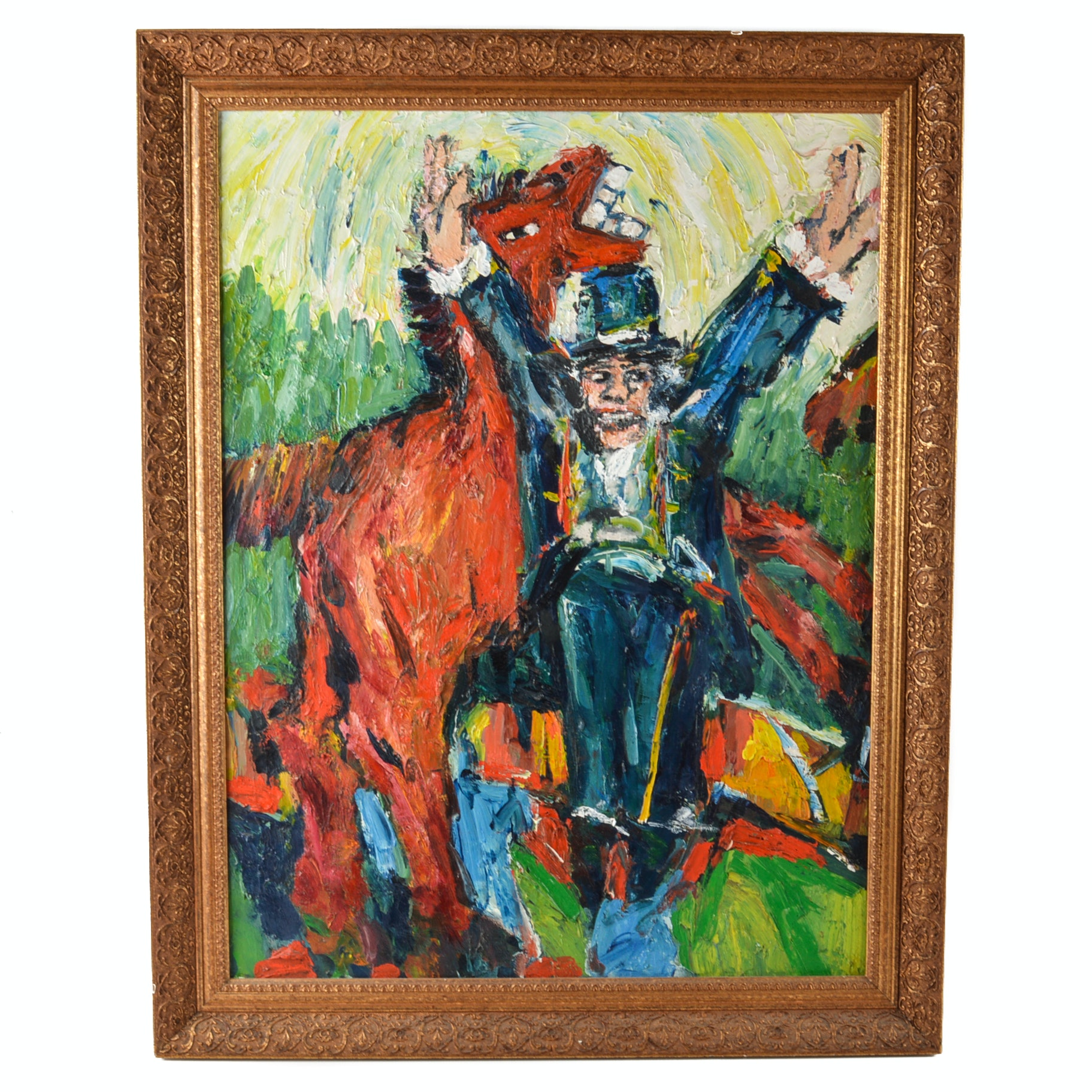 Original Oil on Canvas Painting of Ringmaster and Horse