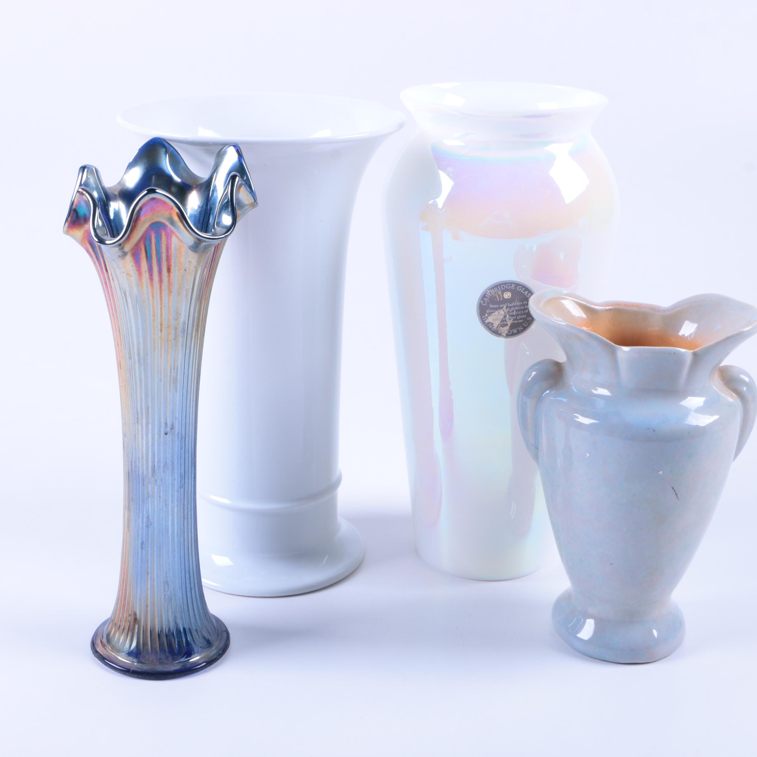 Vases Featuring Carnival and Cambridge Glass