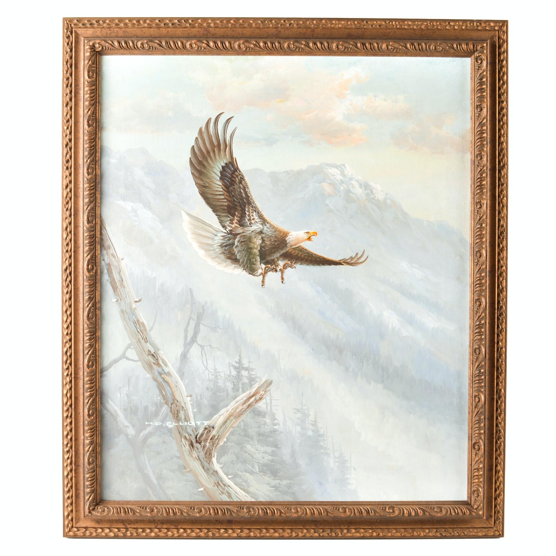 M.P. Elliot Oil on Canvas Eagle Painting