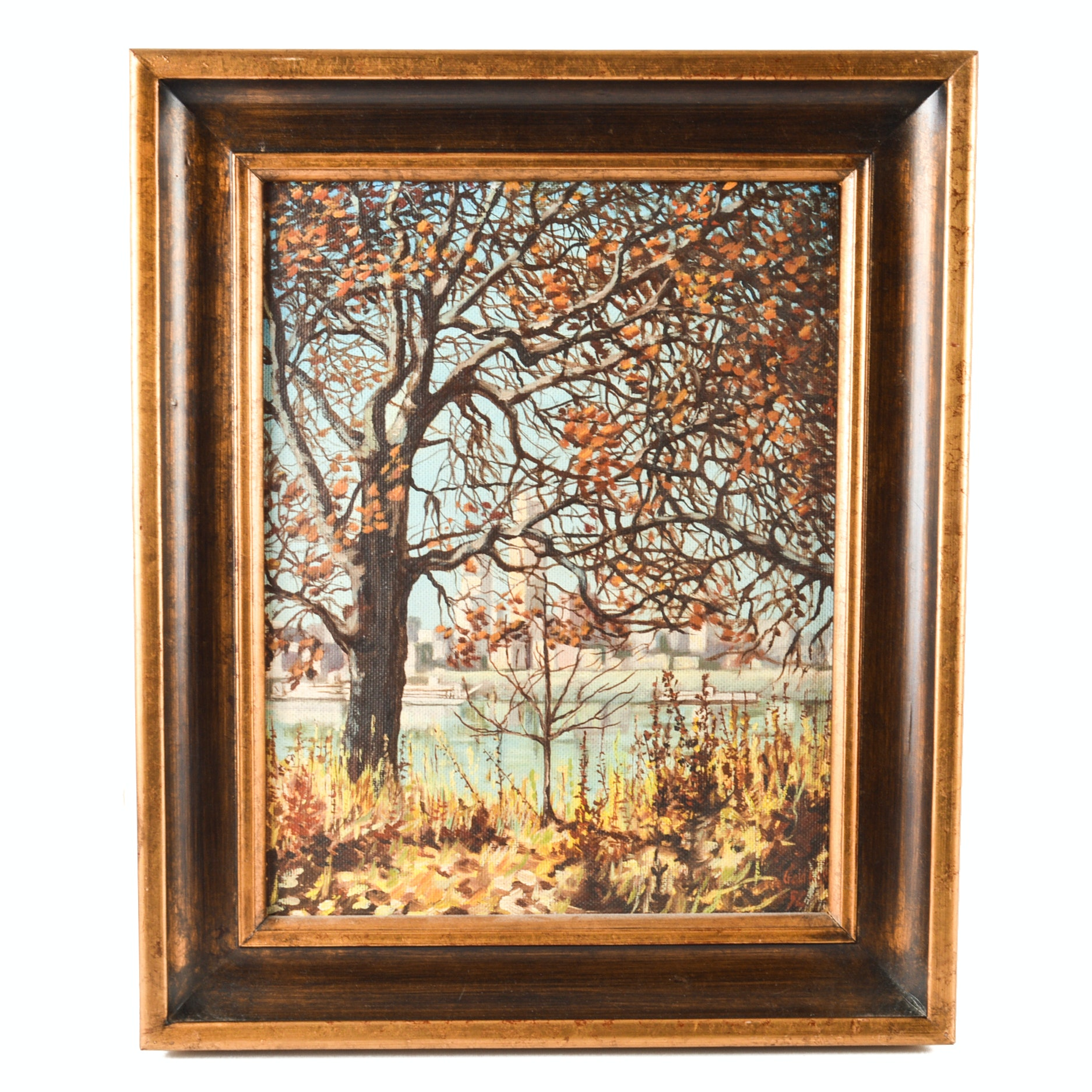 Original Oil on Canvas Board Landscape Painting