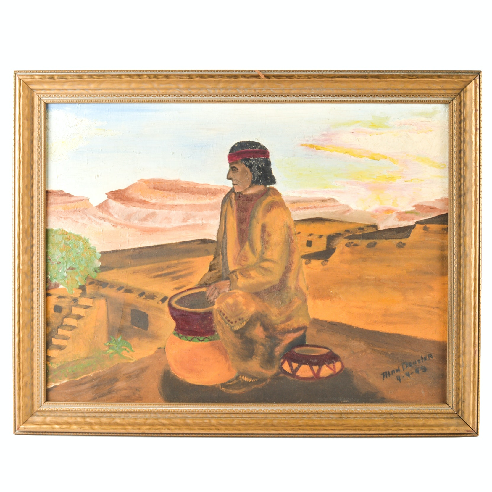 1949 Alan Denzler Original Oil on Canvas Southwestern Painting