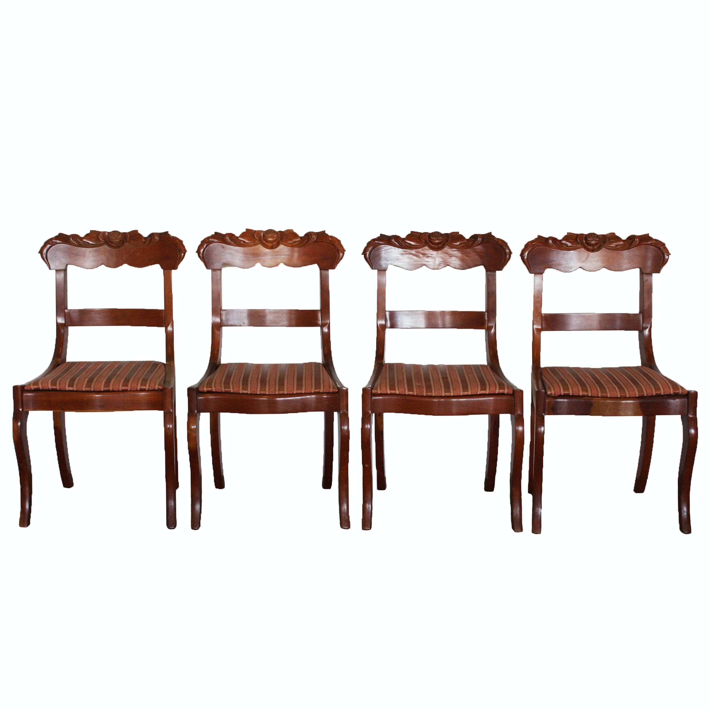 Four Vintage Victorian Style Cherry Side Chairs