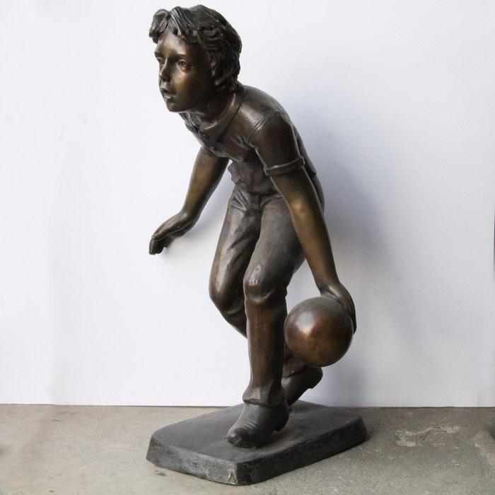 Cast Bronze Garden Sculpture of a Boy