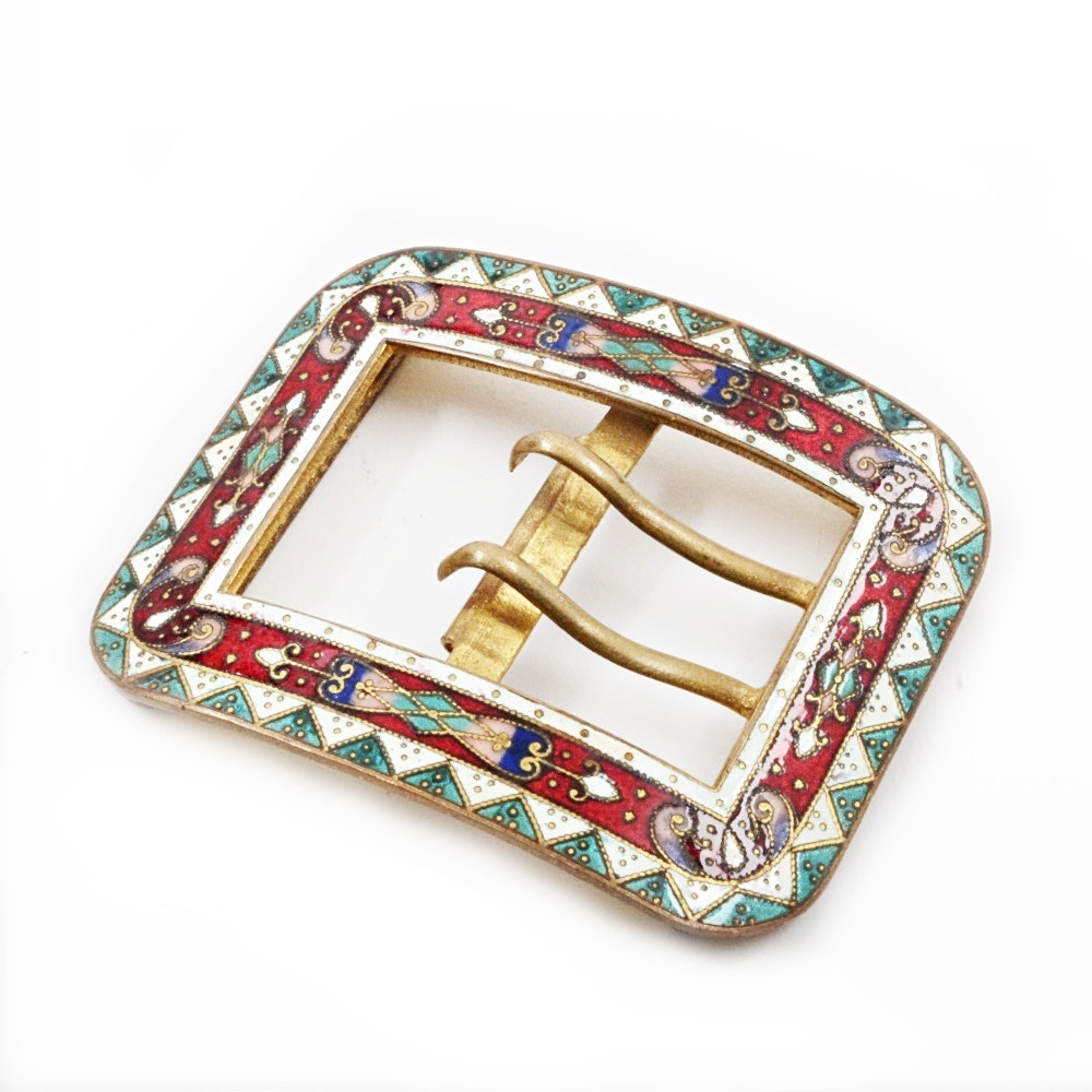 Vintage Enameled Brass Belt Buckle