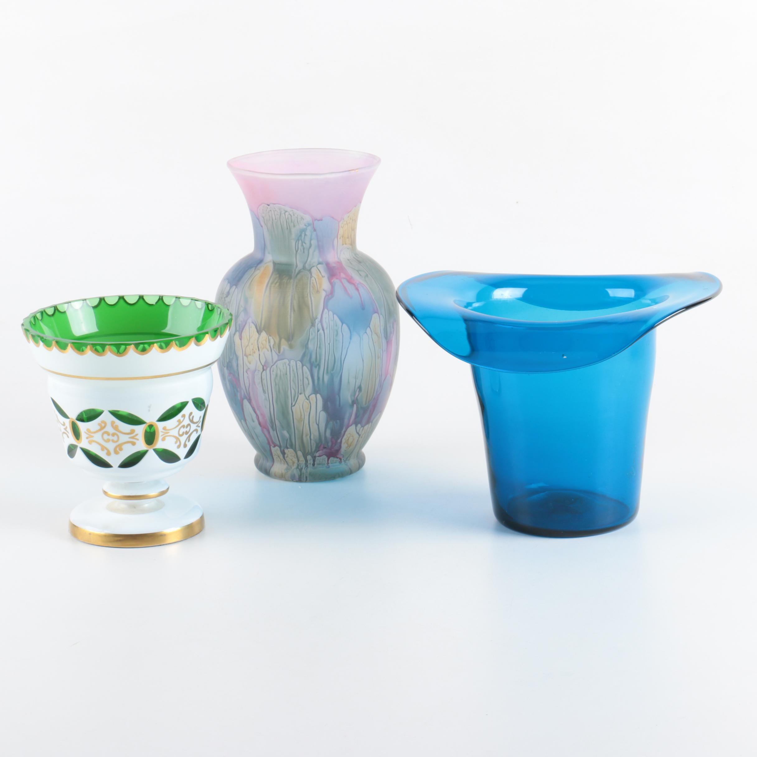 Vases Including Hand-Painted Rueven Glass and Mouth Blown