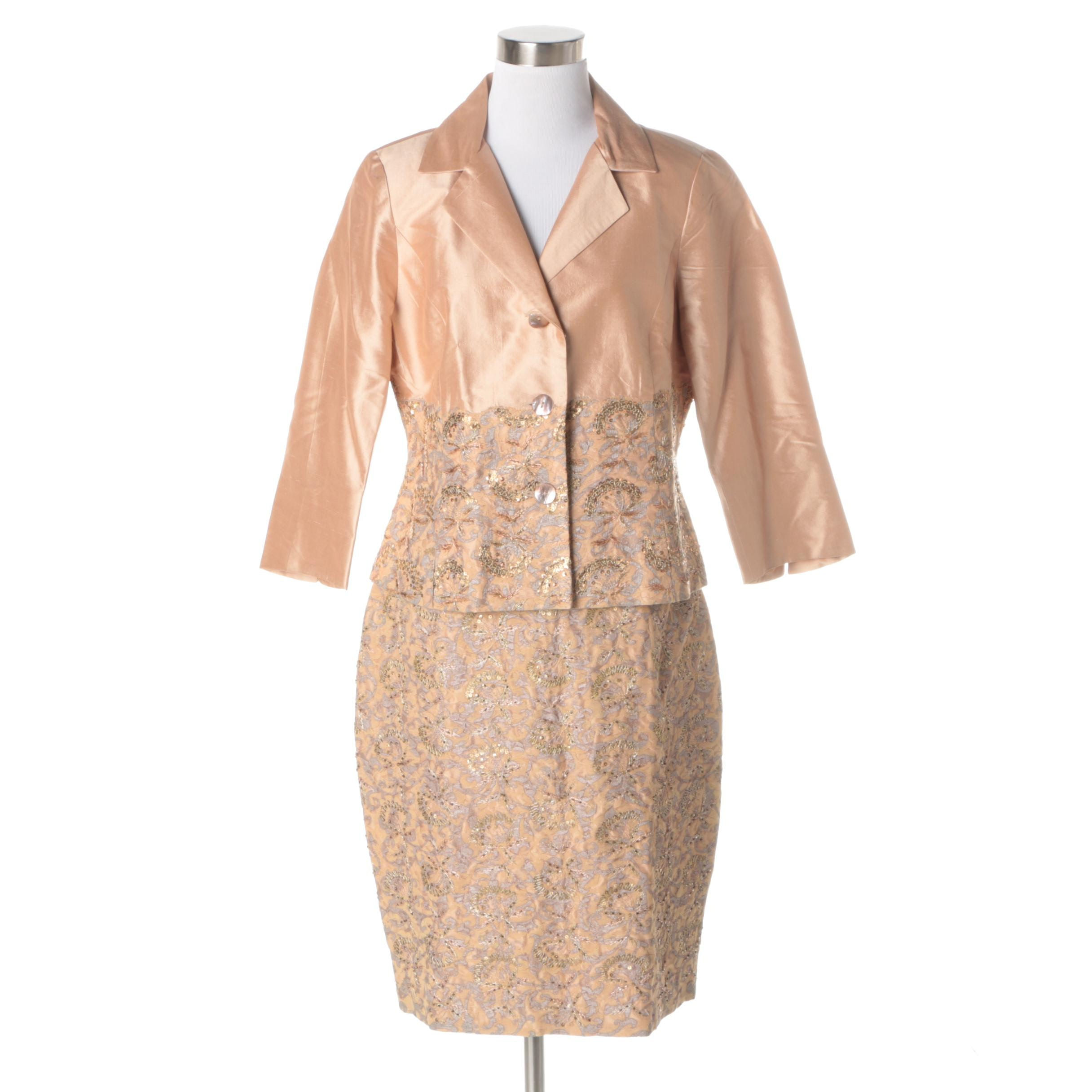 Renato Nucci Peach Skirt Suit