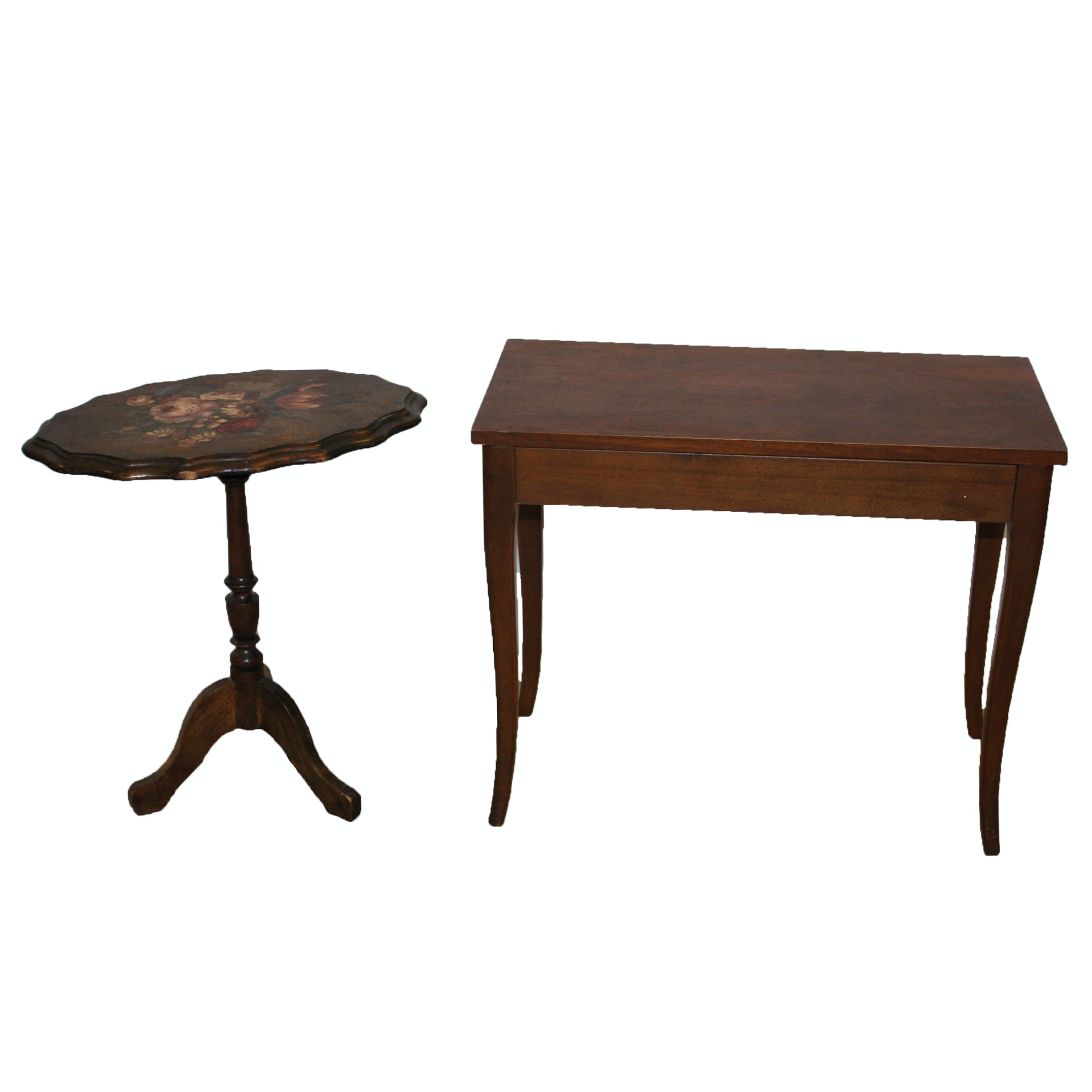 Hand-Painted Floral Tilt-Top Table and Walnut Piano Bench