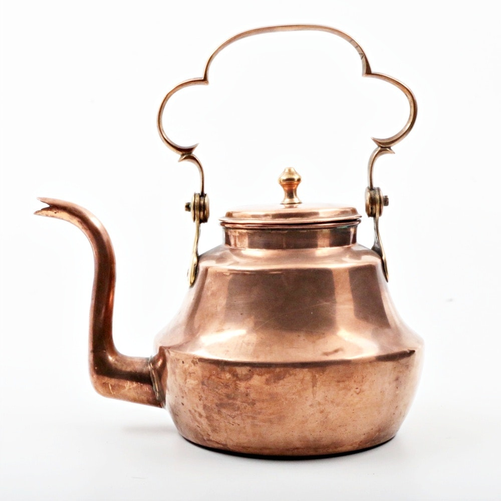 Antique Copper and Brass Teapot with Swivel Handle
