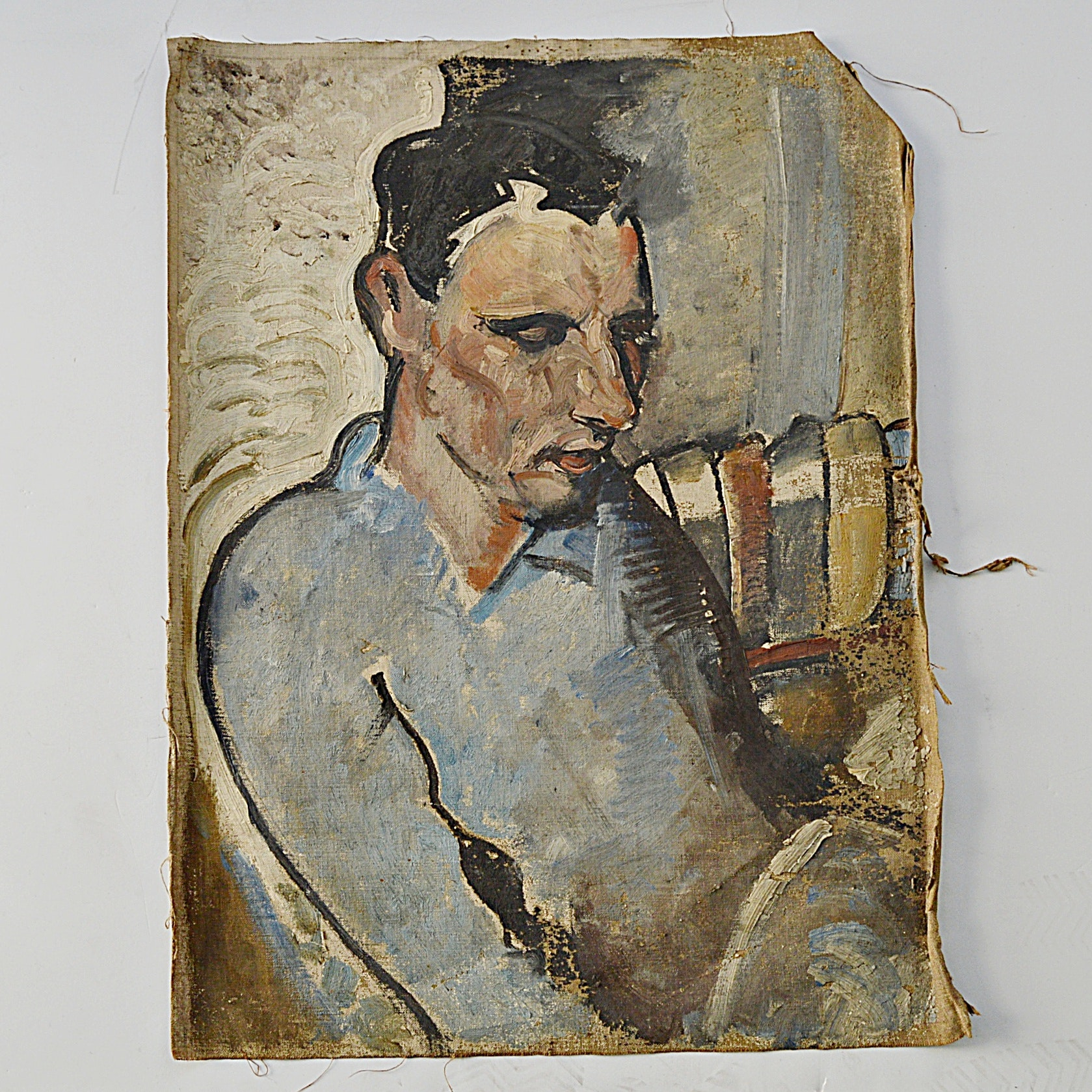 Abstract Expressionistic Oil on Canvas Attributed to Leighton Smith Portrait
