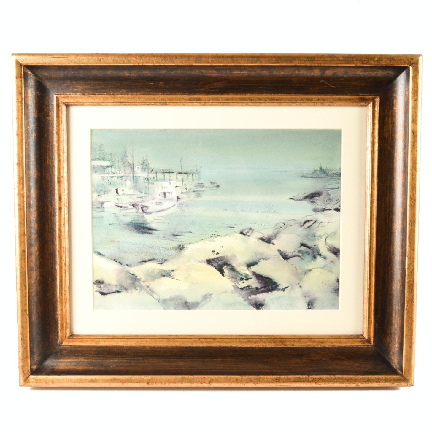 "Phil Foster Original Watercolor on Paper ""Foggy Morning Maine"""