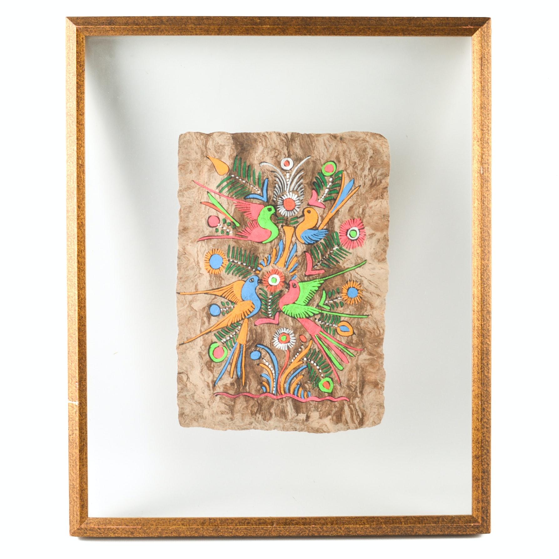 Mexican Amate Bark Folk Art Painting