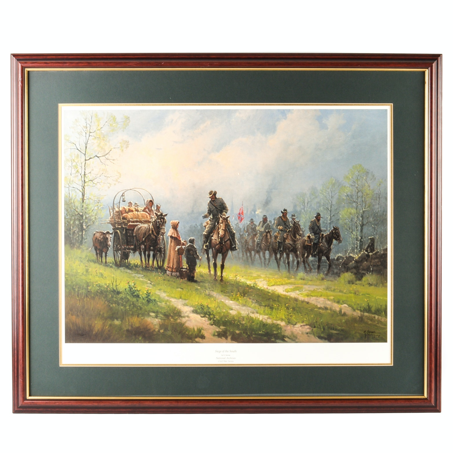 "G. Harvey Signed Offset Lithograph ""Siege of the South"""