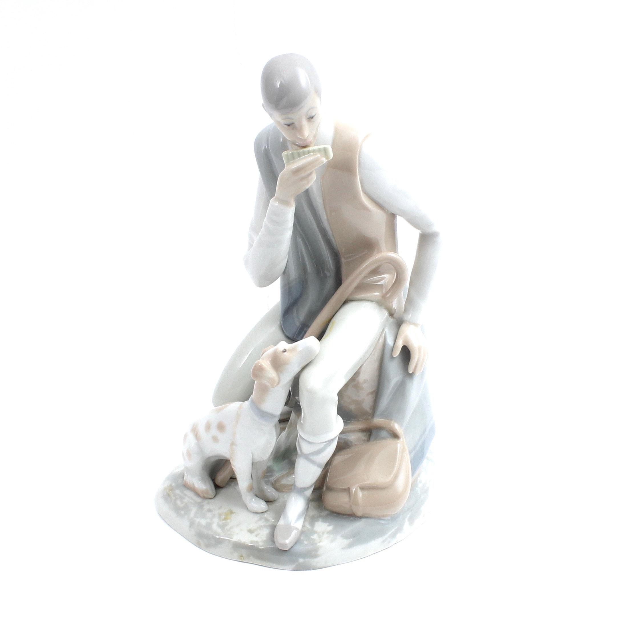 Spanish Porcelain Figurine of Shepherd with Harmonica