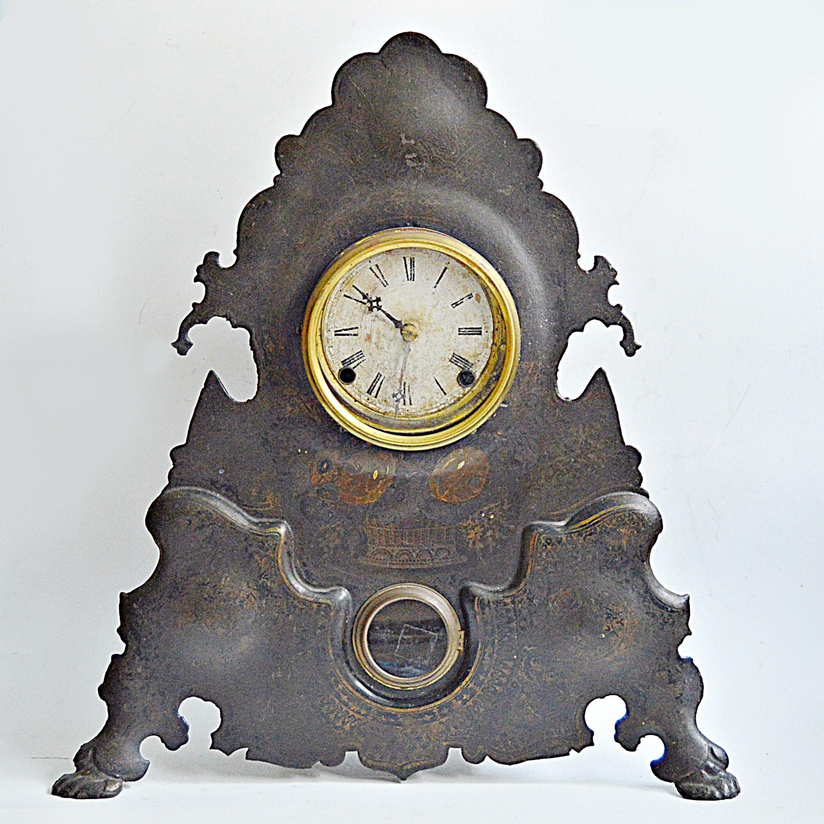 Victorian Gothic Stenciled Iron American Clock Co. Regulator Clock