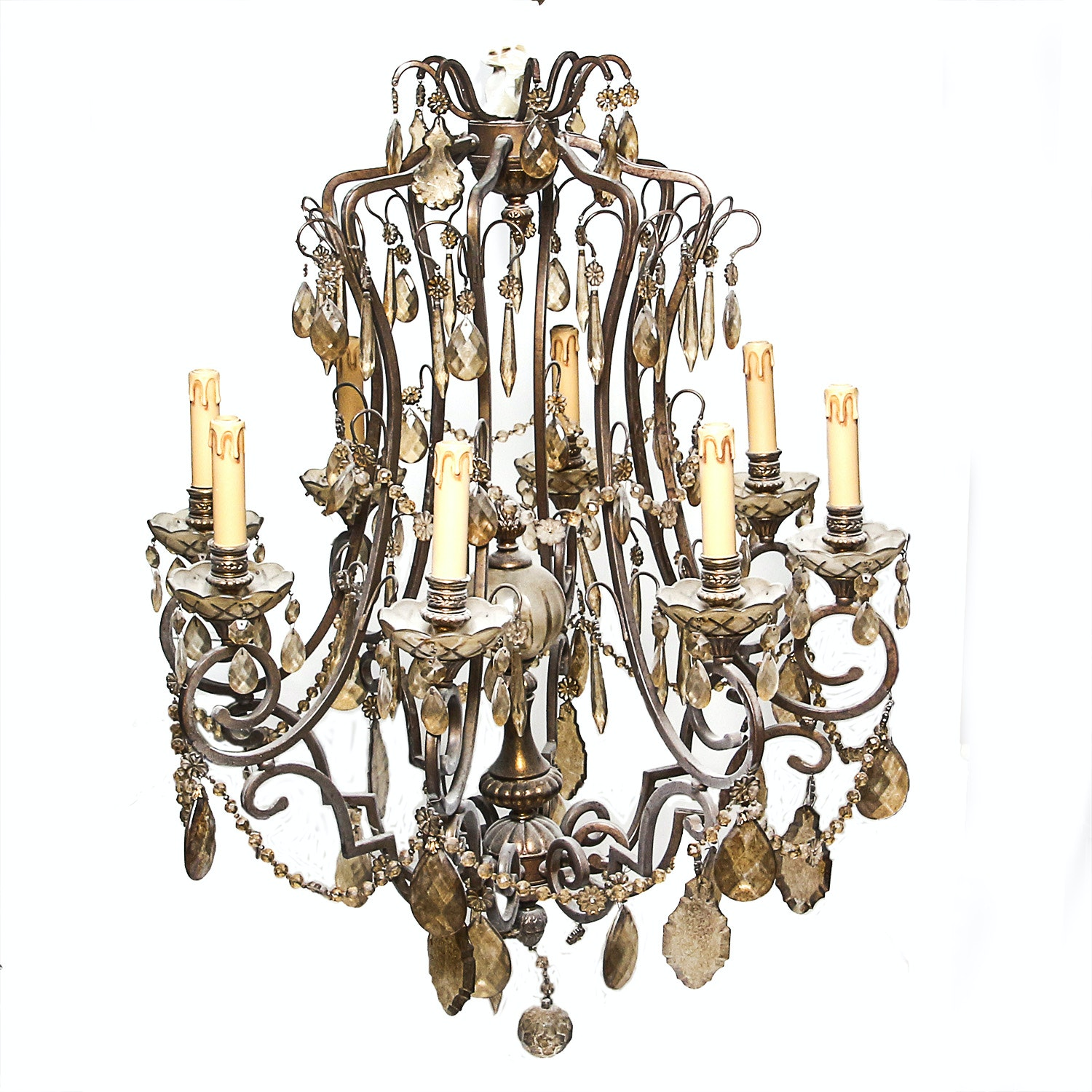 Ornate Vintage Chandelier with Smoked Glass Prisms