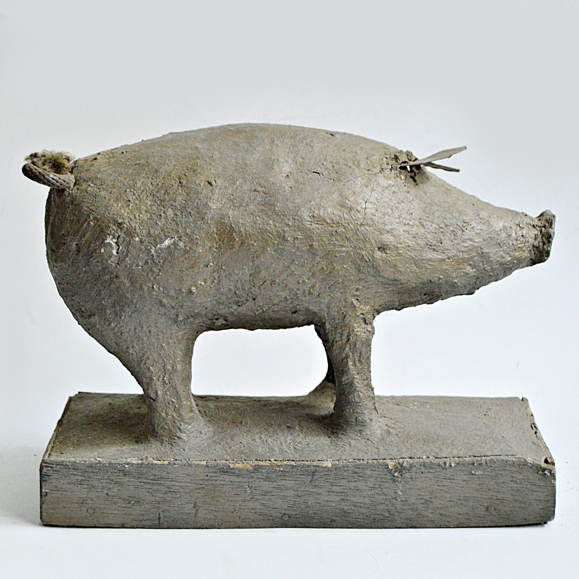 1940s Original Hand Built Folk Art Pig Sculpture