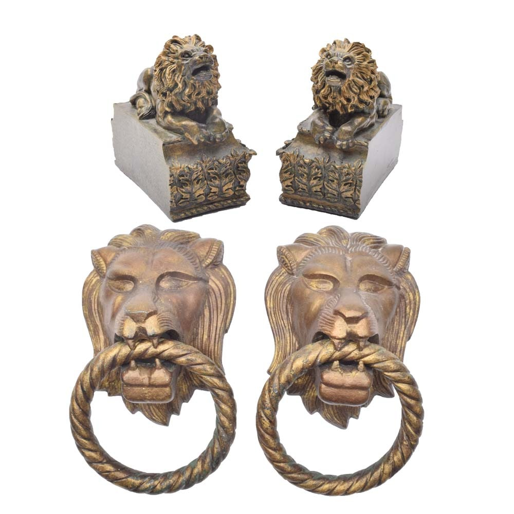 Gold Tone Lion Themed Decor