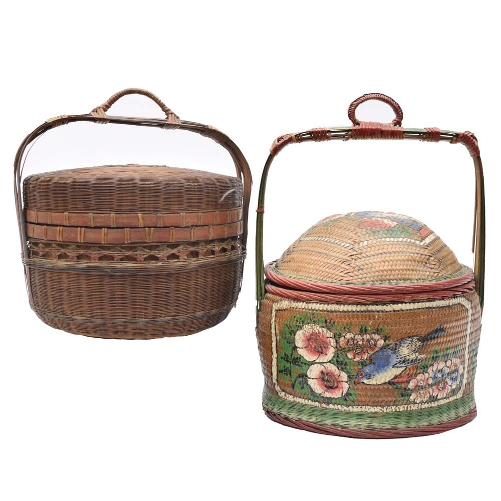 Hand Painted Woven Rice Baskets