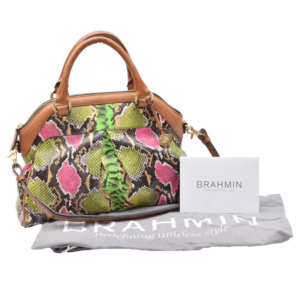 Brahmin Louise Rose Anaconda Print Shoulder Tote