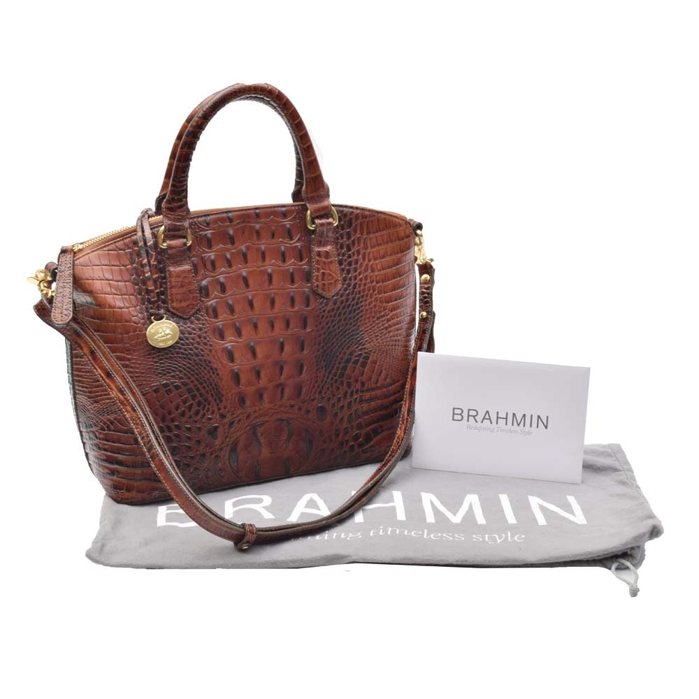 Brahmin Duxbury Crocodile Embossed Leather Satchel