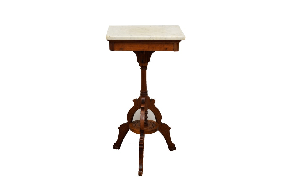 Antique Eastlake Oak Side Table with Marble