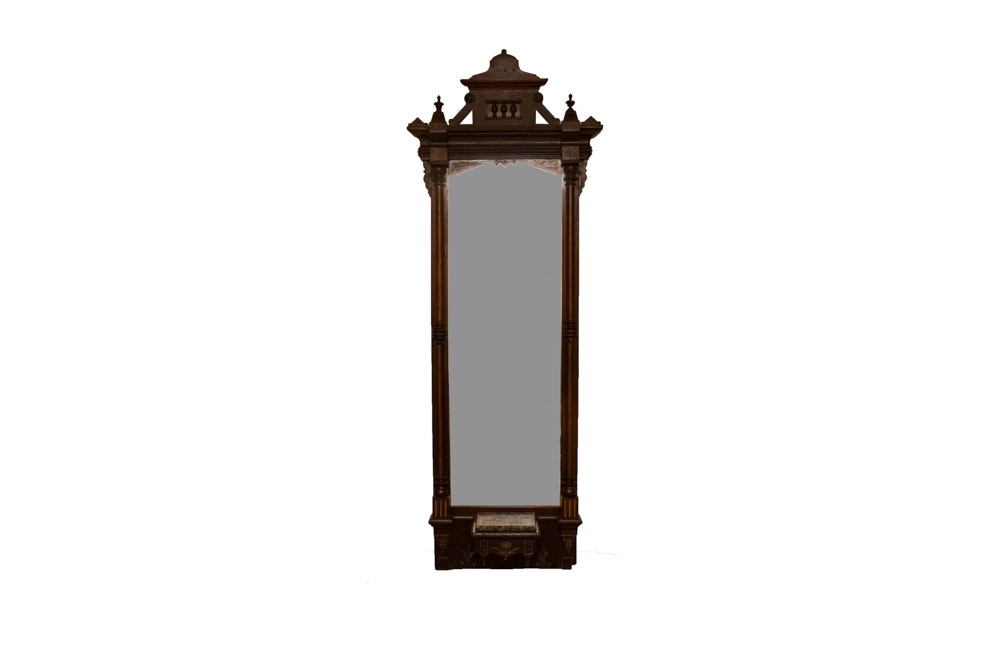 Vintage Eastlake Style Full Length Wall Mirror