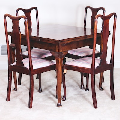 Vintage Queen Anne Style Wooden Table and Chairs - Vintage Dining Furniture Auction Antique Dining Furniture For Sale