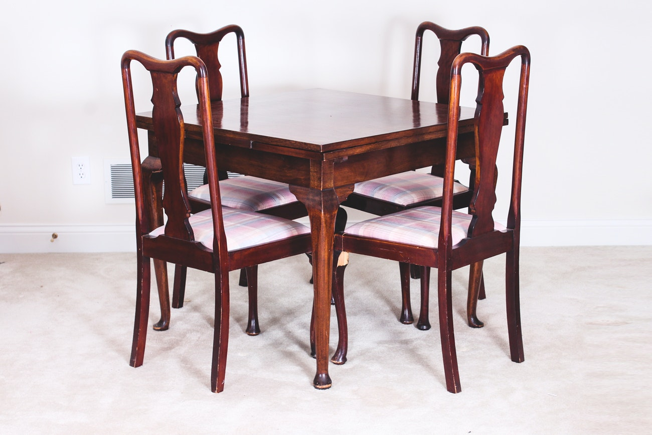 Vintage Queen Anne Style Wooden Table And Chairs