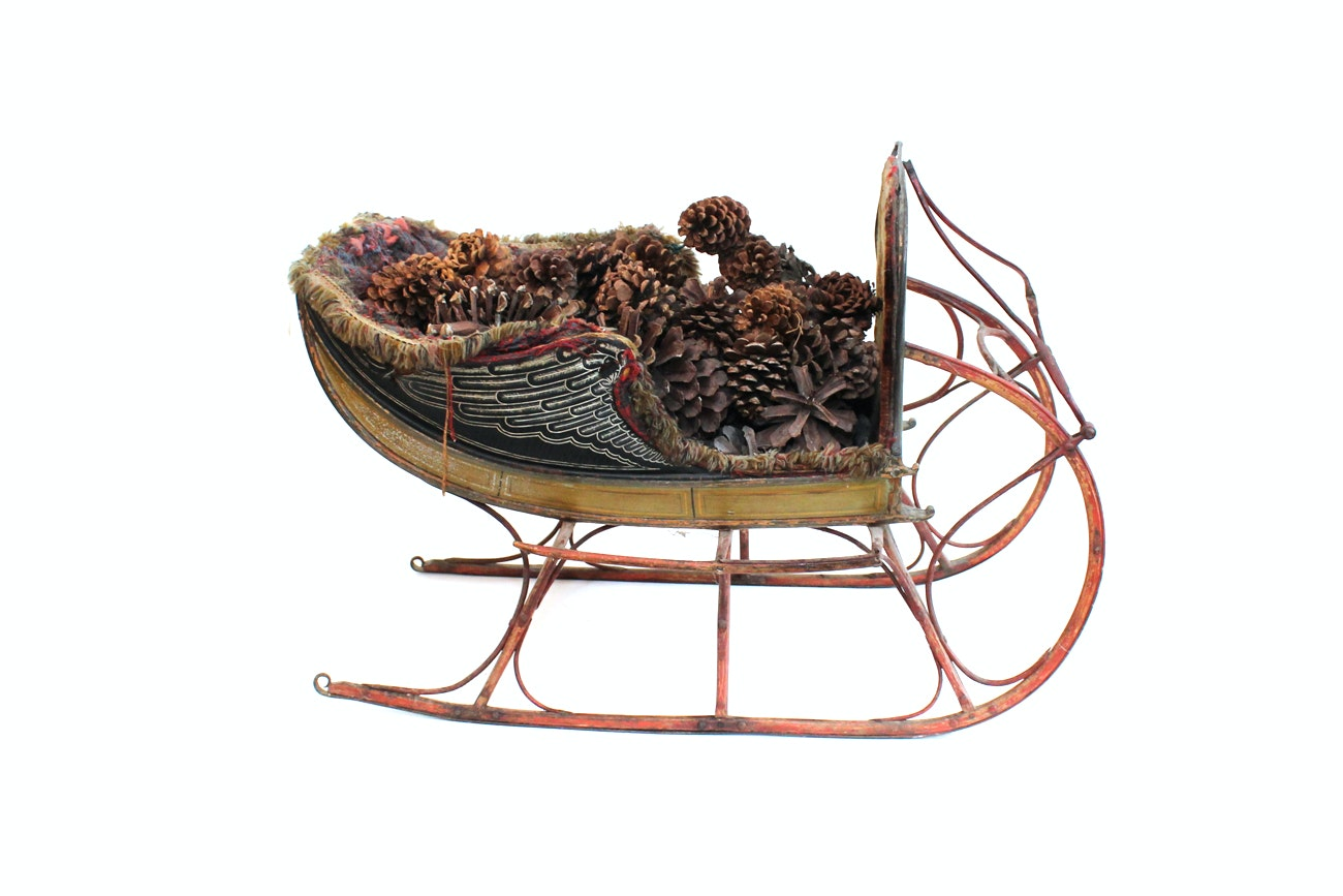 Antique Upholstered Wooden Sleigh
