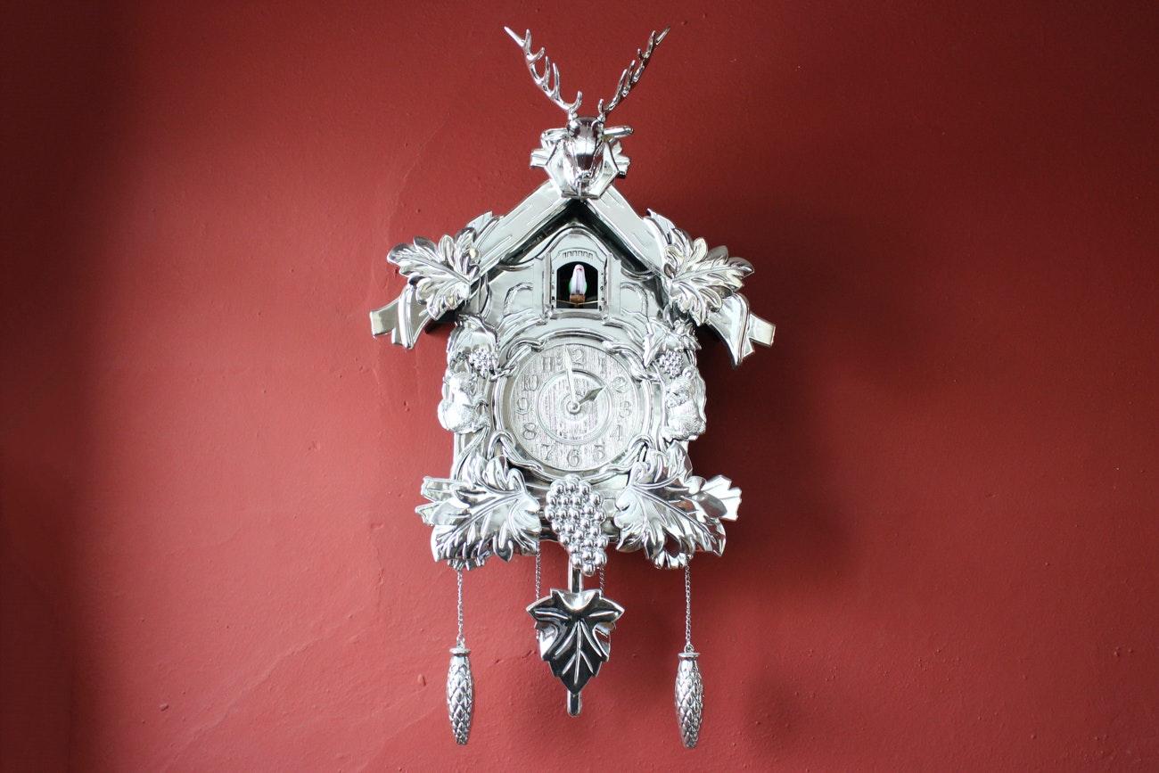 Silver Tone Bo Sheng Cuckoo Clock