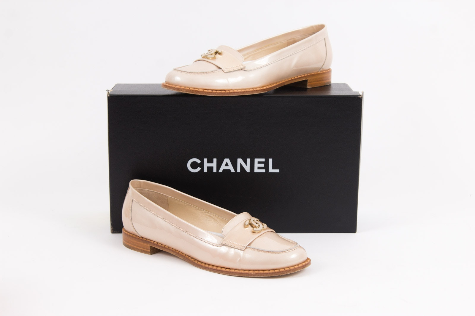 Chanel Beige Patent Leather CC Loafers