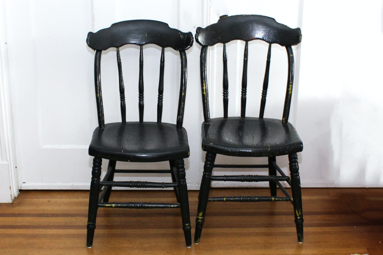 Antique Painted Oak Chairs