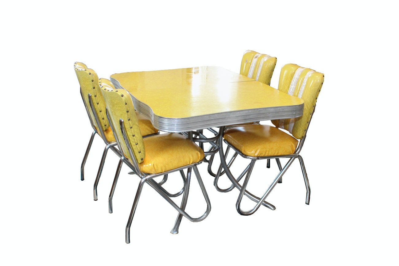 Vintage Mid-Century Yellow Dining Set