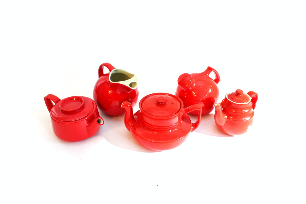 Vintage Red Ceramic Teapot Collection featuring Hall's