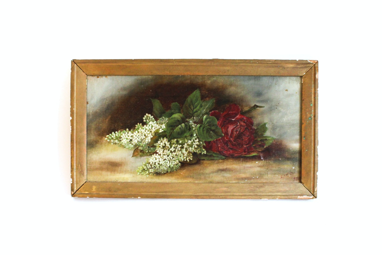 Antique Framed Oil on Canvas of a Still Life with Flowers