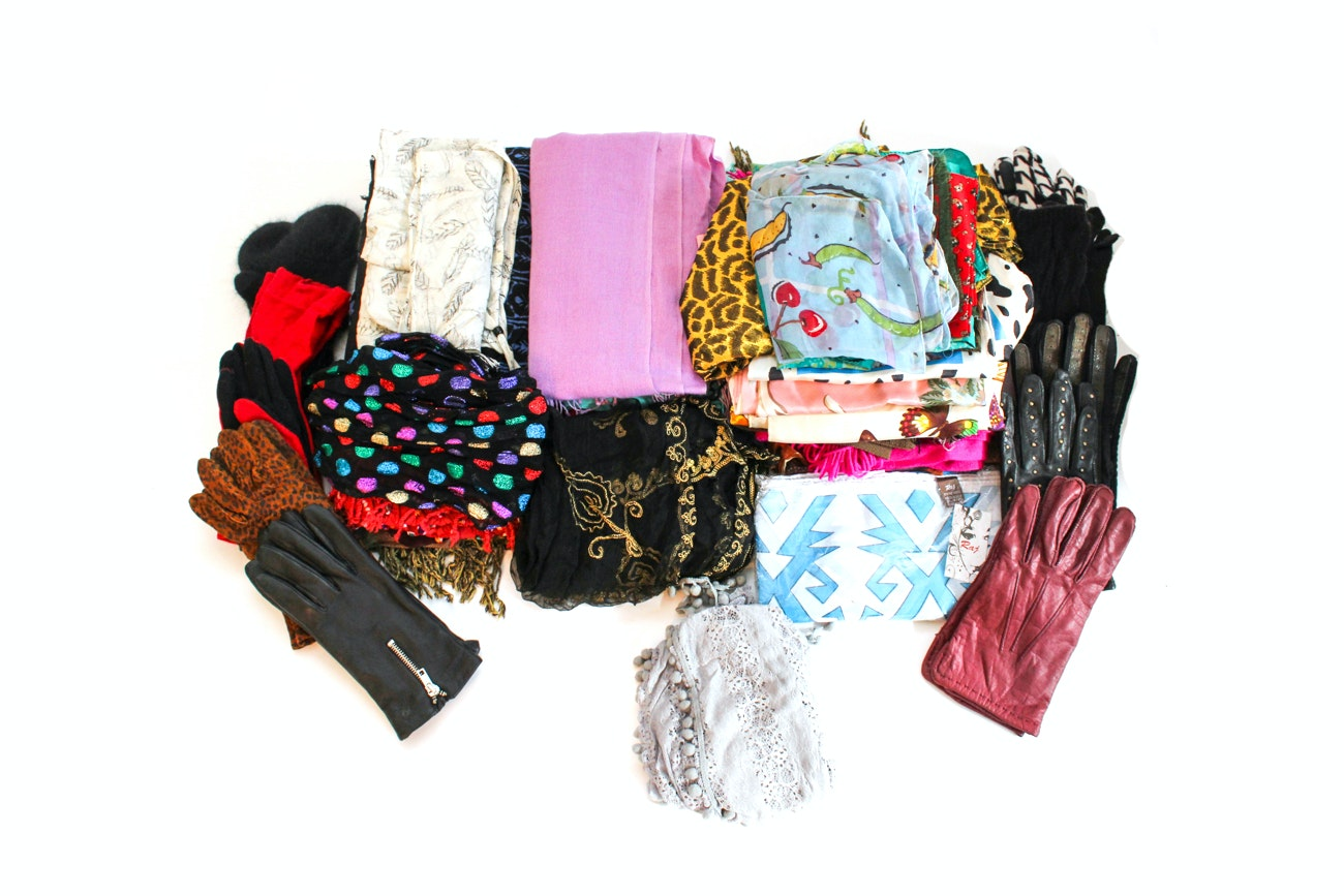 Women's Scarf and Glove Collection Including Coach