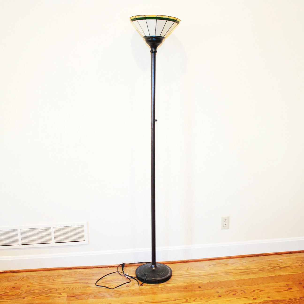 Arts and Crafts Style Floor Lamp with Stained Glass Shade