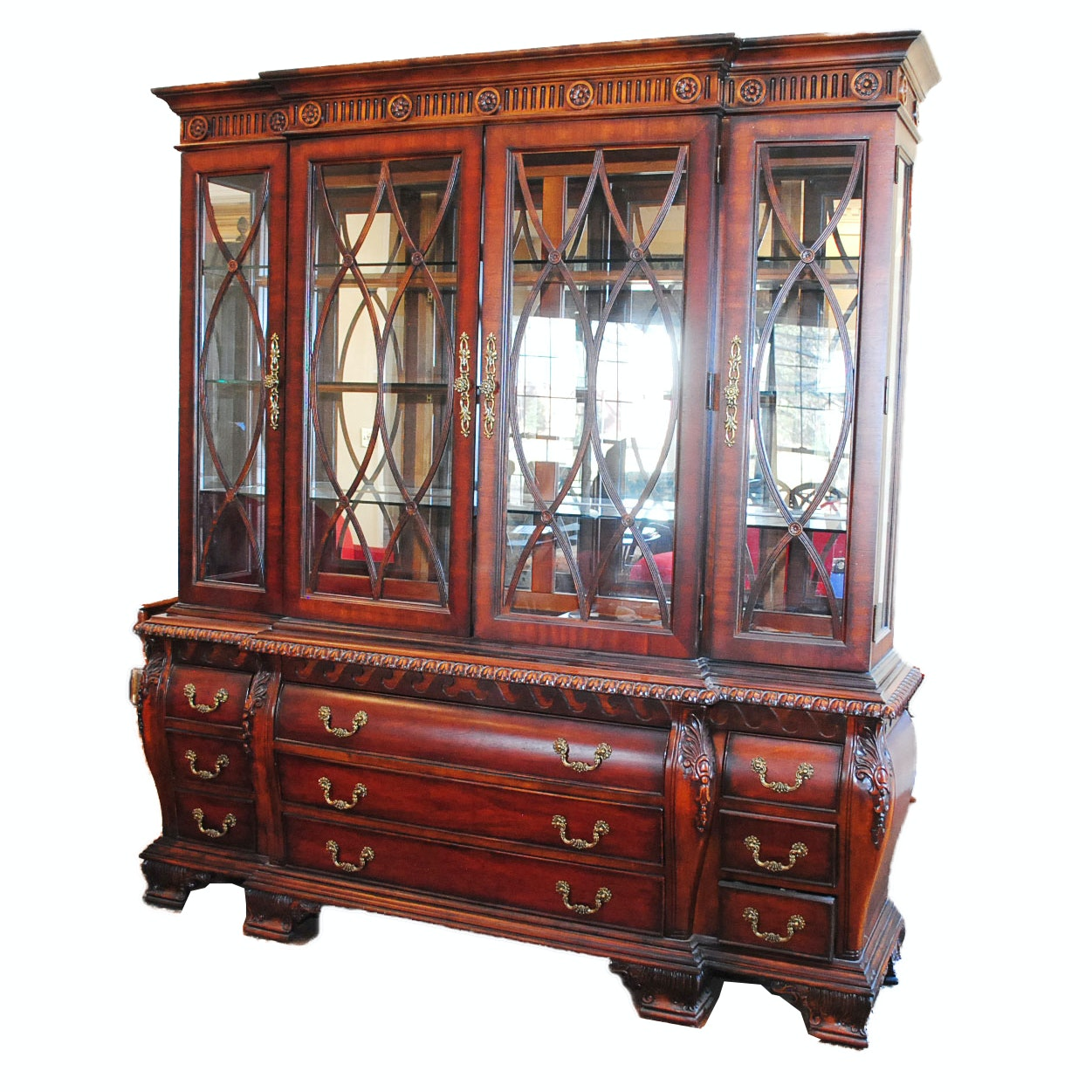 Georgian Style Breakfront Cabinet with Bombé Base