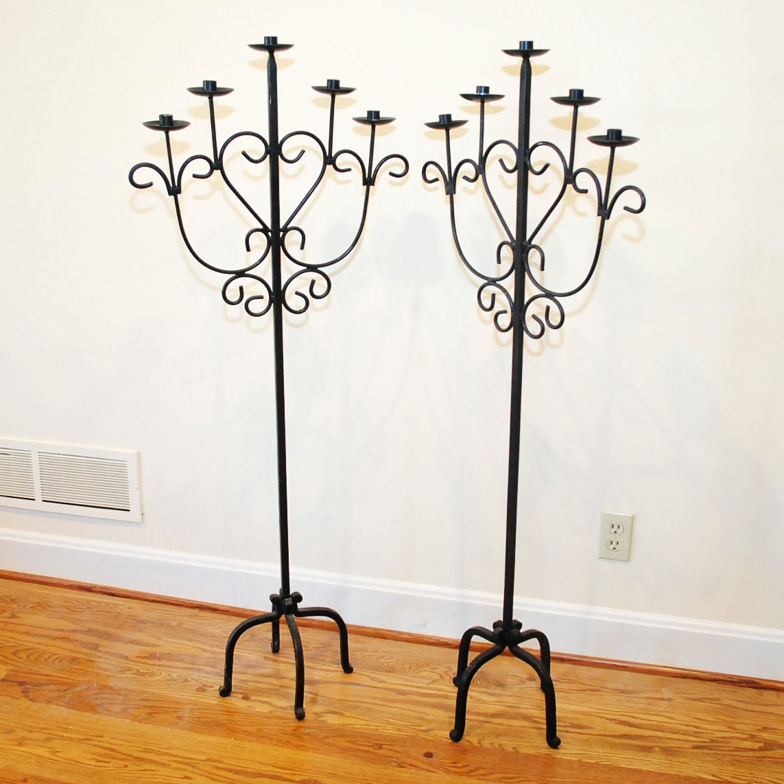 Wrought Iron Floor Stand Candelabras