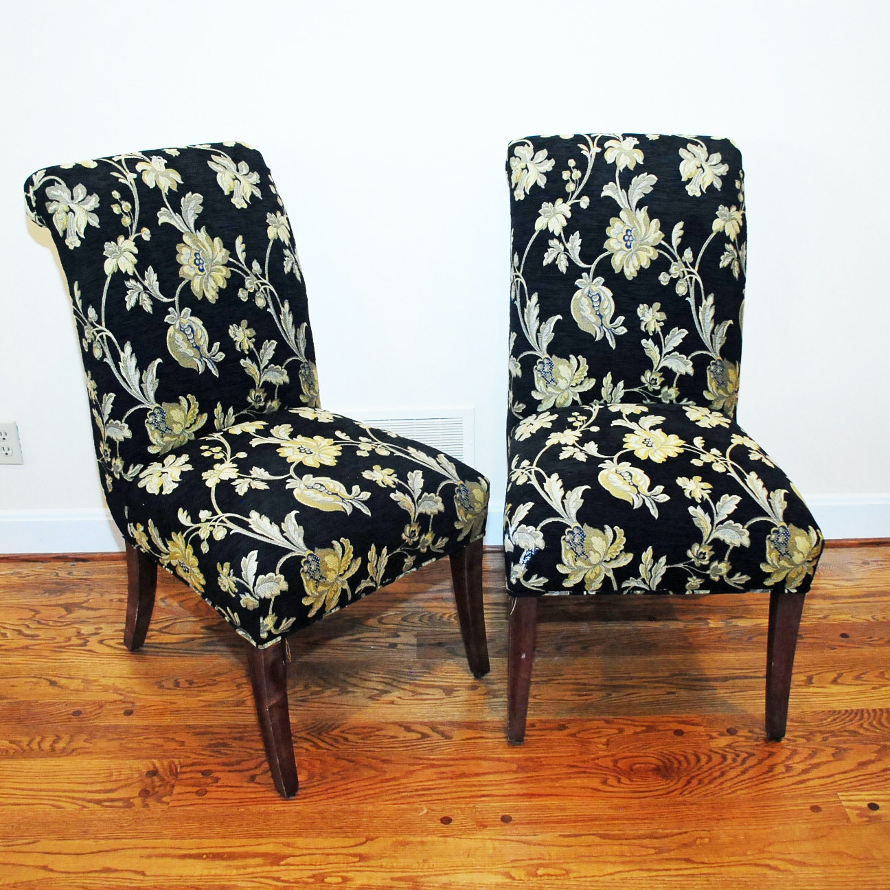 Parsons Style Side Chairs with Floral Upholstery