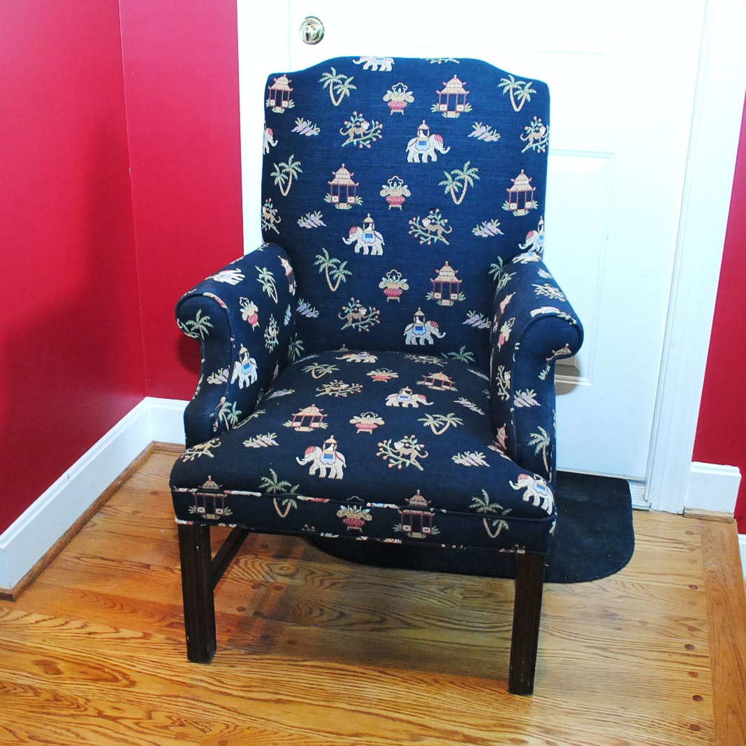 Upholstered Armchair with Monkey and Elephant Design Fabric