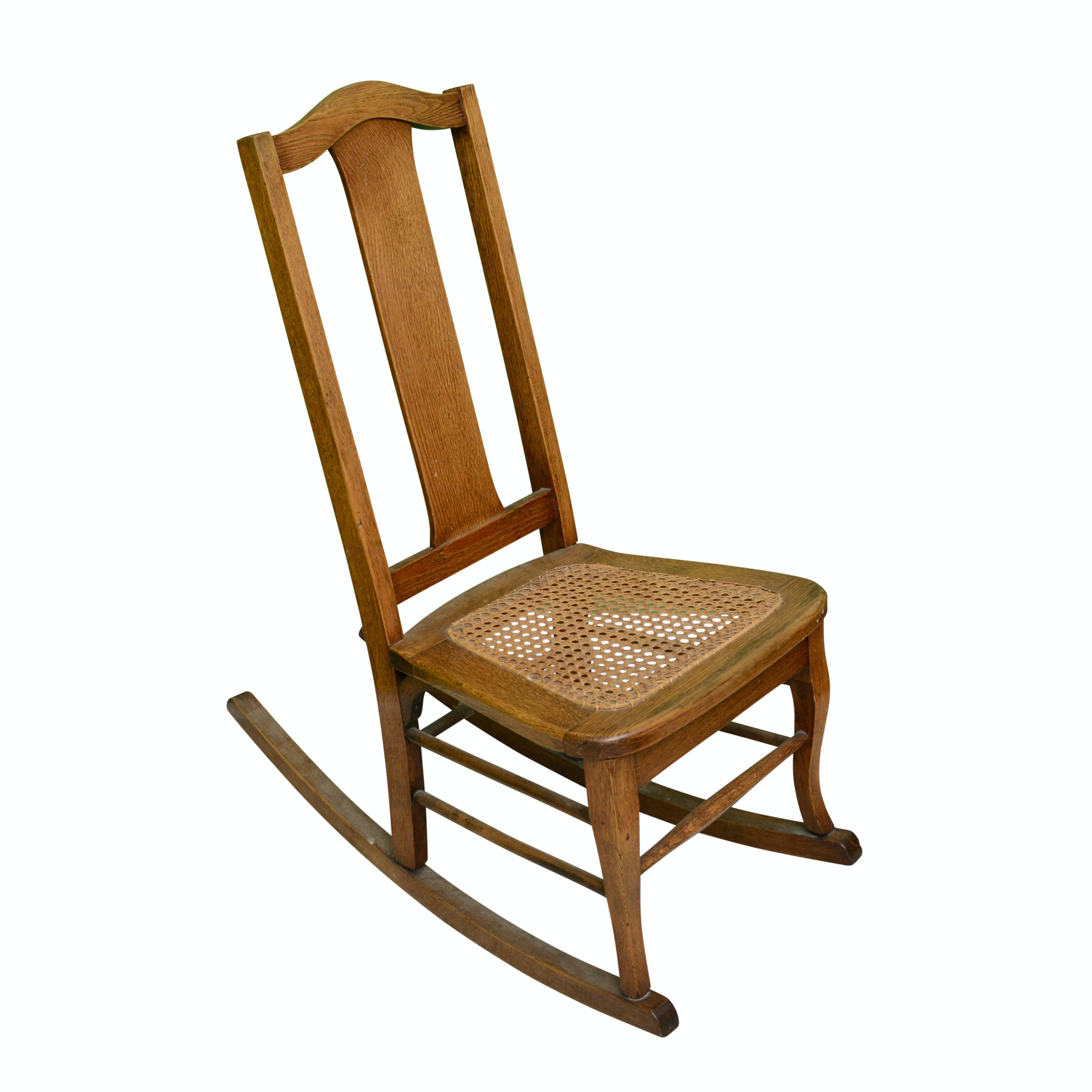 Vintage Children's Oak and Caned Seat Rocking Chair