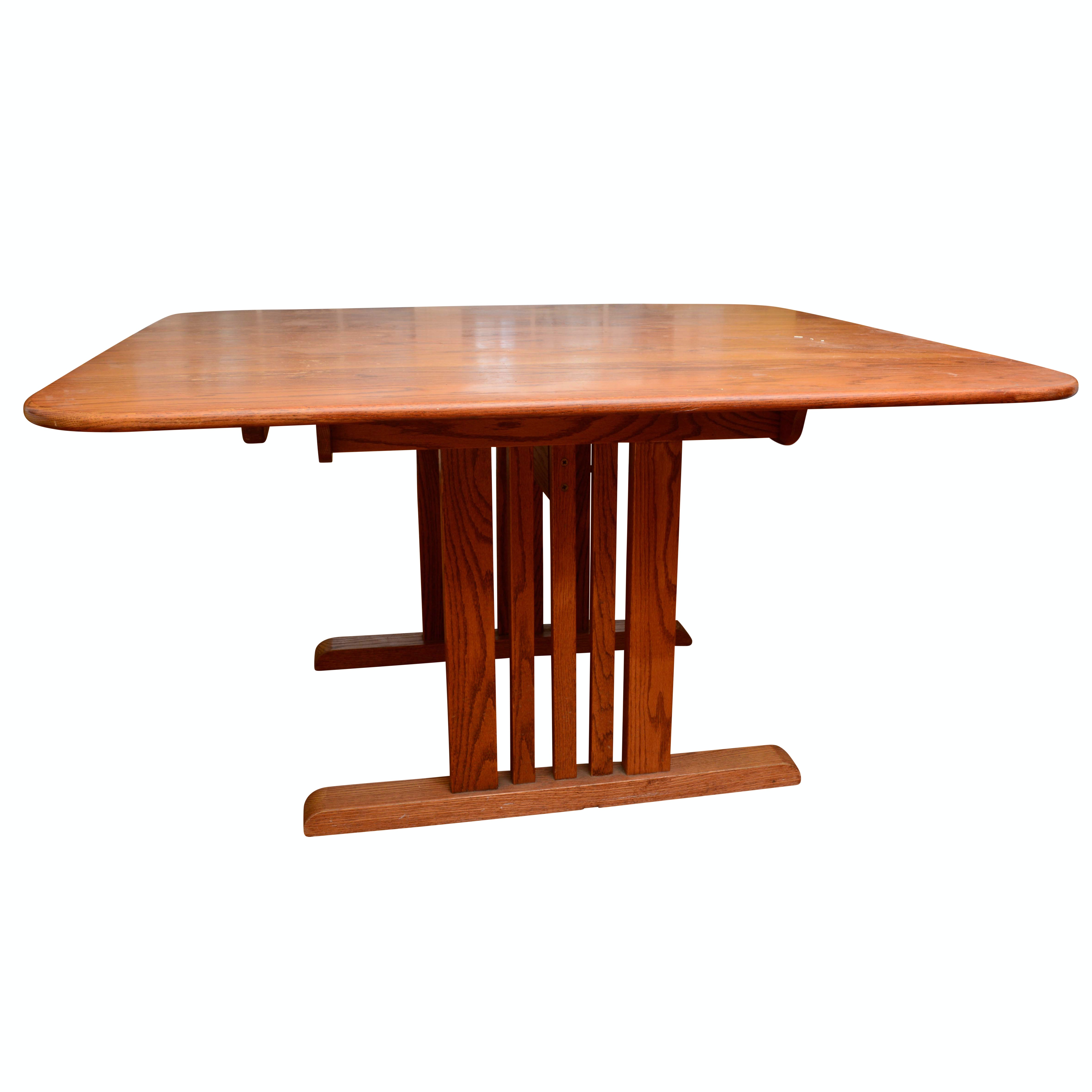 Mission Style Oak Trestle Dining Table
