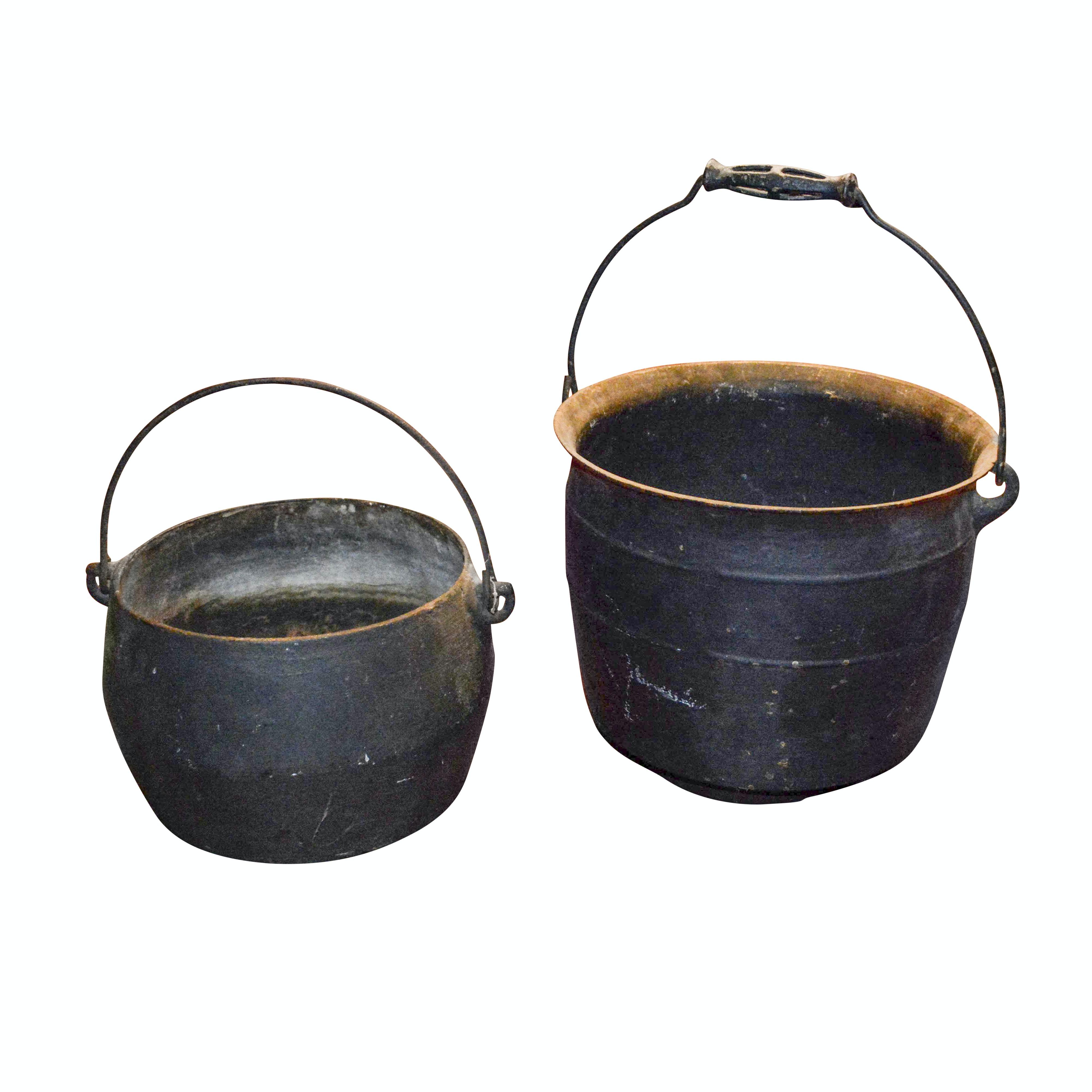 Pairing of Antique Cast Iron Cauldrons