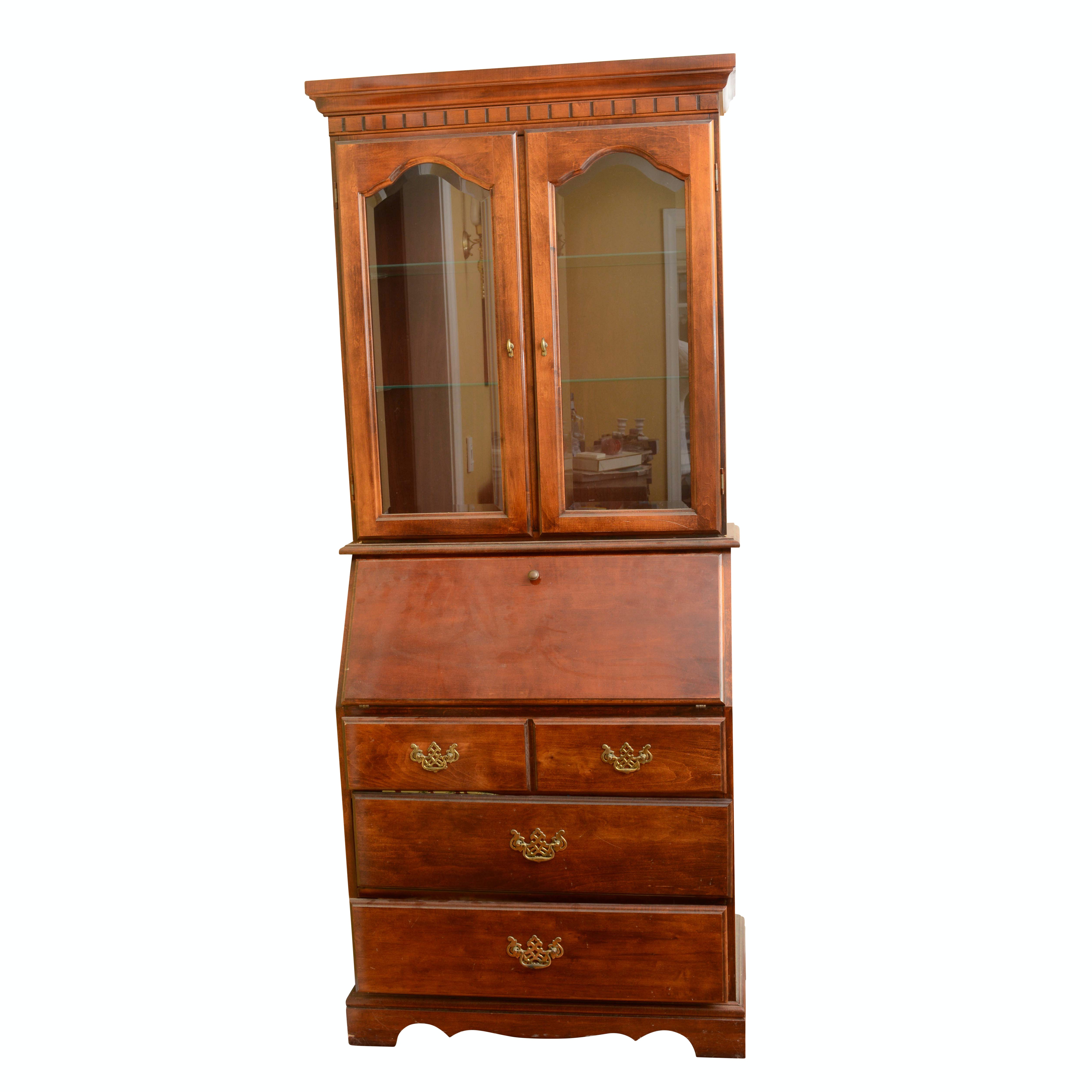 Vintage Colonial Style Maple Hutch with Secretary