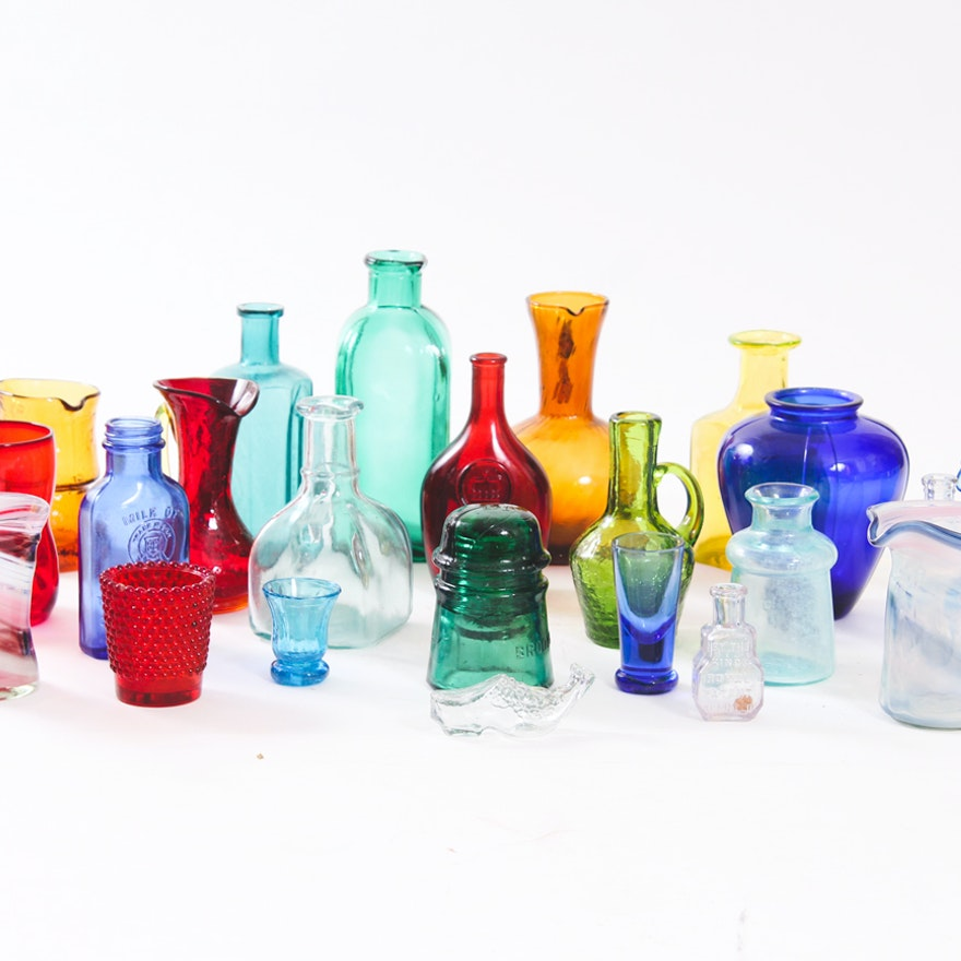 large grouping of antique and vintage colored glass bottles and decor - Colored Glass Bottles