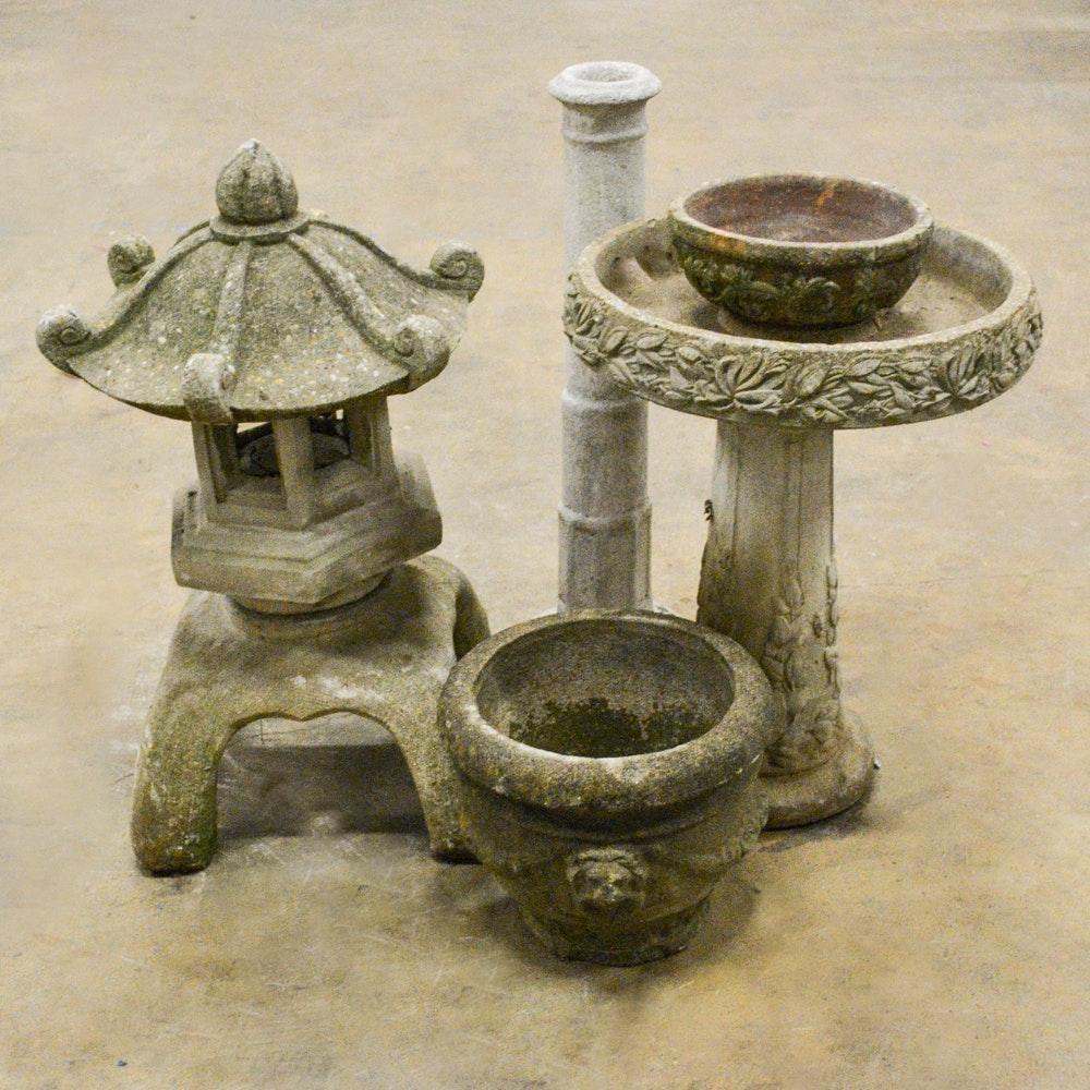 Concrete Garden Statuary, Birdbath and Planter