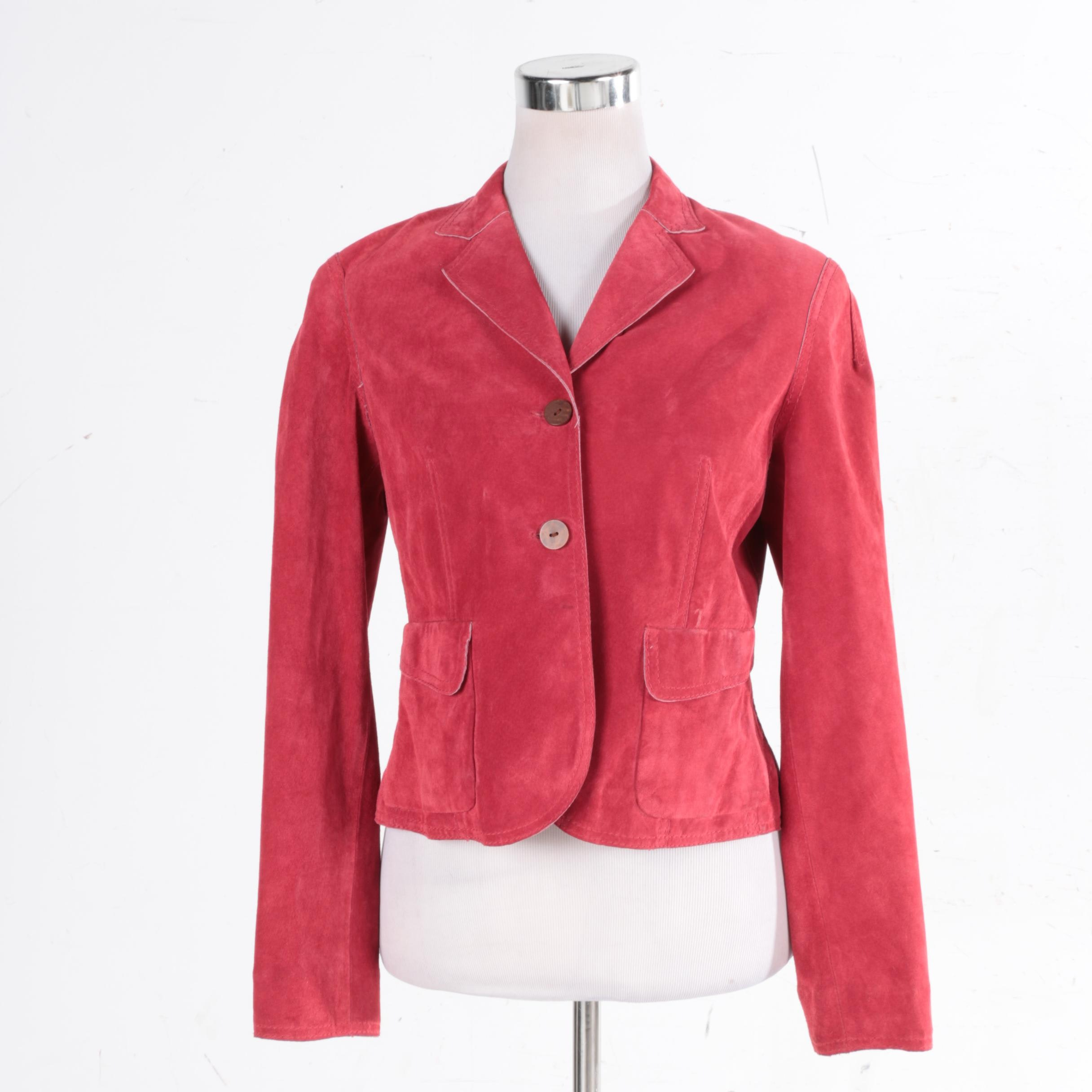 Women's AK Anne Klein Red Leather Jacket