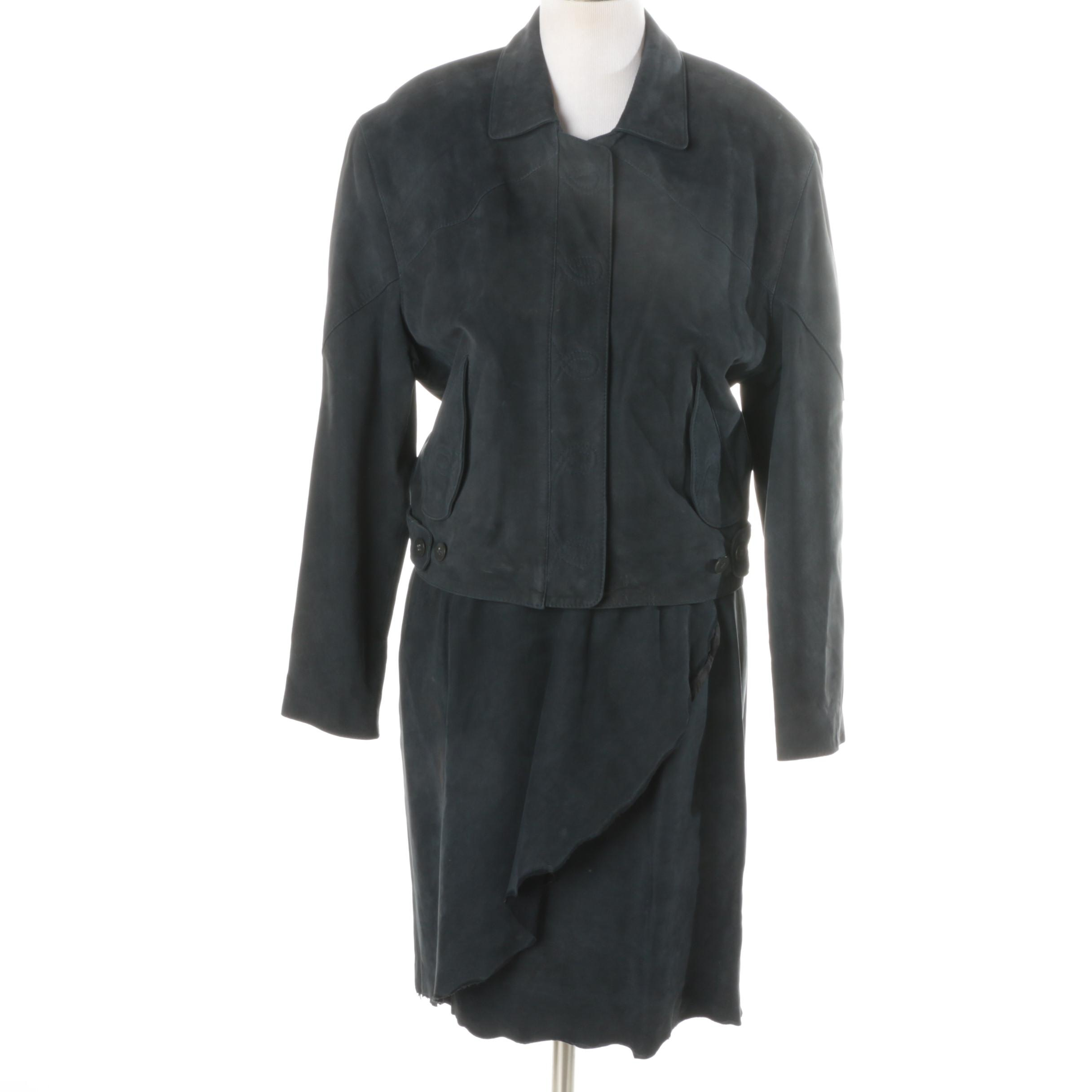 Robert Comstock Suede Skirt Suit